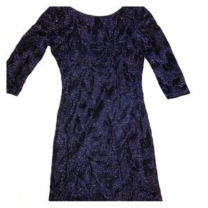 ZARA Navy Blue Glittery Open Back Mini Dress